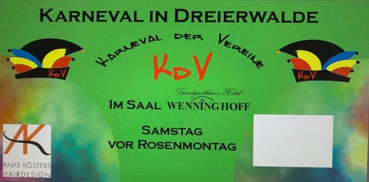 25 Jahre Karneval der Vereine am 22. Februar 2020 in Dreierwalde